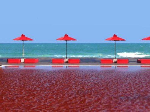 Turisti pronti a tuffarsi nella piscina rosso sangue